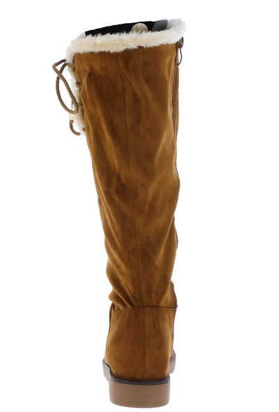 B10817 Camel Side Lace Up Faux Fur Knee High Boot - Wholesale Fashion Shoes