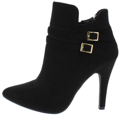 Claire067 Black Suede Dual Strap Stiletto Ankle Boot - Wholesale Fashion Shoes