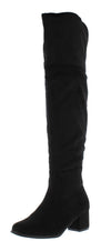 Annikah Black Over The Knee Chunky Heel Boot - Wholesale Fashion Shoes