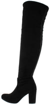 B2811h Black Suede Rear Tie Over The Knee Boot - Wholesale Fashion Shoes