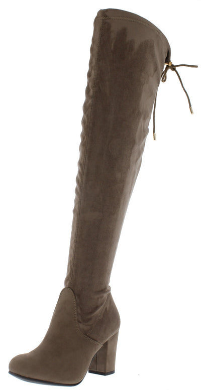 B2811h Khaki Suede Rear Tie Over The Knee Boot - Wholesale Fashion Shoes