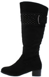 Lydia158 Black Studded Strap Knee High Boot - Wholesale Fashion Shoes