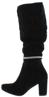 B4006H Black Suede Rhinestone Knee High Boot - Wholesale Fashion Shoes