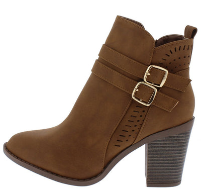 B526 Camel Laser Cut Dual Buckle Ankle Boot - Wholesale Fashion Shoes