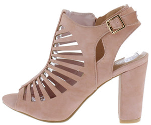 6bec7668f1b Reagan172 Pink Caged Peep Toe Cut Out Chunky Heel - Wholesale Fashion Shoes