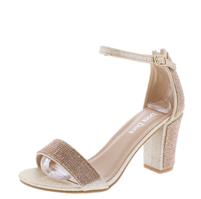 Varina030 Champagne Embellished Open Toe Block Heel - Wholesale Fashion Shoes