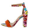 Barbina33 Orange Printed Open Toe Ankle Strap Block Heel - Wholesale Fashion Shoes