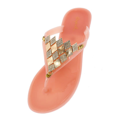 Bari03 Nude Rhinestone Metal Accent Sandal - Wholesale Fashion Shoes