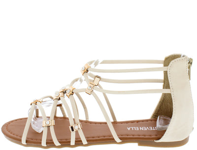 Bb9601 Beige Open Toe Multi Strap Rhinestone Gold Ring Sandal - Wholesale Fashion Shoes