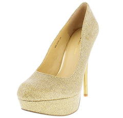 BBGIRL48 GOLD SPARKLY PLATFORM STILETTO PUMP HEEL - Wholesale Fashion Shoes