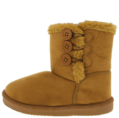 Bbq03km Beige Button Faux Fur Kids Boot - Wholesale Fashion Shoes