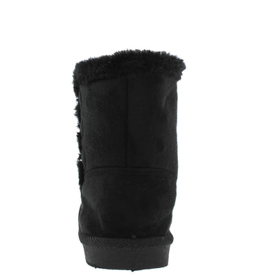 Bbq03km Black Button Faux Fur Kids Boot - Wholesale Fashion Shoes