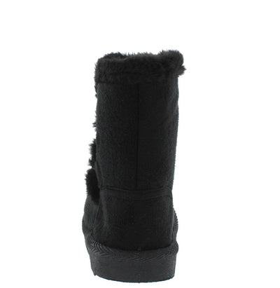 Bbq03ks Black Button Faux Fur Infant Boot - Wholesale Fashion Shoes