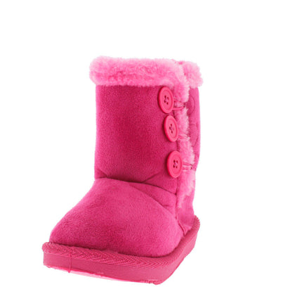 Bbq03ks Fuchsia Button Faux Fur Infant Boot - Wholesale Fashion Shoes