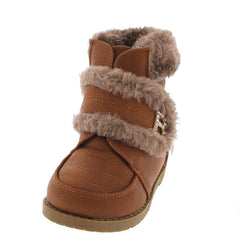 BBT2KS TAN FAUX FUR TRIM INFANT BOOT - Wholesale Fashion Shoes