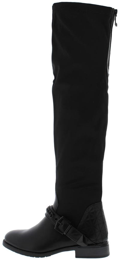 Harper136 Black Pu Chain Strap Over The knee Boot - Wholesale Fashion Shoes