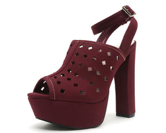 BEAT10X BURGUNDY OPEN TOE GEOMETRIC WRAP AROUND PLATFORM HEEL - Wholesale Fashion Shoes