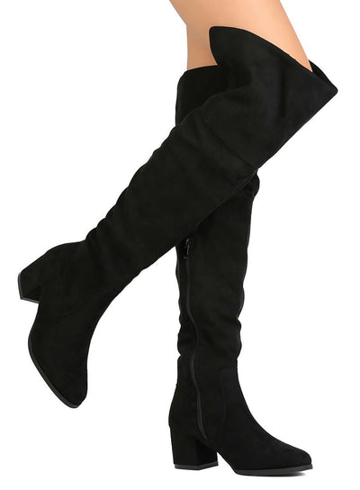 Becky02 Black Over The knee Chunky Heel Boot - Wholesale Fashion Shoes