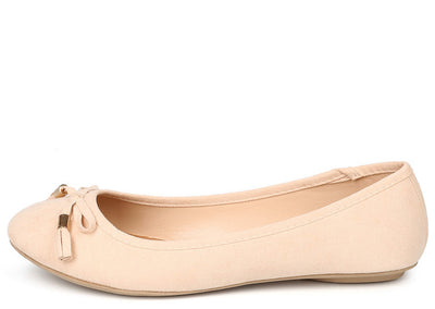 Bee01 Nude Round Toe Bow Tassel Ballet Flat - Wholesale Fashion Shoes