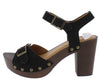 Beekler20 Black Distressed Open Toe Ankle Strap Wood Heel - Wholesale Fashion Shoes