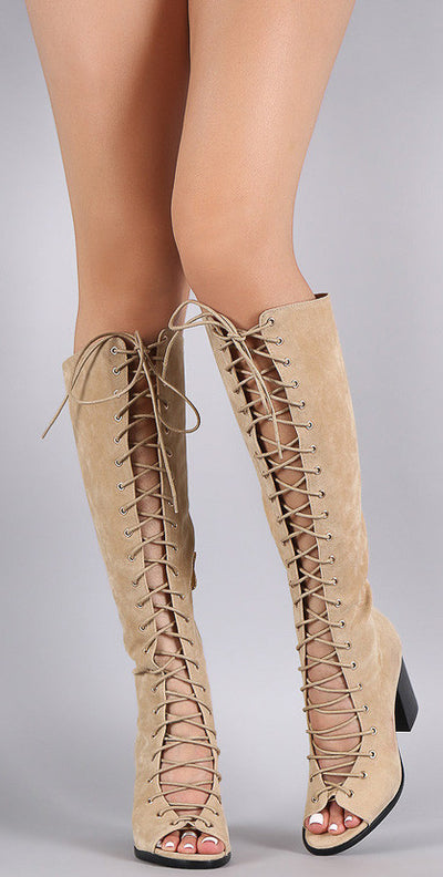 Bella1 Nude Open Toe Lace Up Chunky Heel Knee High Boot - Wholesale Fashion Shoes