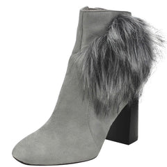 BERNICE2 GREY FUR PUFF CHUNKY HEEL ANKLE BOOT - Wholesale Fashion Shoes