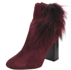 BERNICE2 WINE FUR PUFF CHUNKY HEEL ANKLE BOOT - Wholesale Fashion Shoes