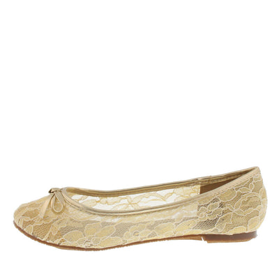 Betty8 Beige Lace Bow Ballet Flat - Wholesale Fashion Shoes