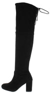 Bh120 Black Suede Rear Lace Up Over The Knee Boot - Wholesale Fashion Shoes