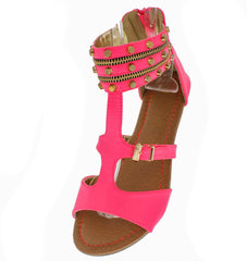 AMELIA FUCHSIA STUDDED ZIPPER ANKLE SANDAL - Wholesale Fashion Shoes