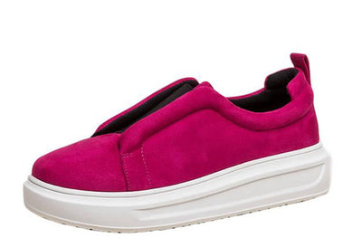 Billie Fuchsia Split Front Slide On Sneaker Flat - Wholesale Fashion Shoes