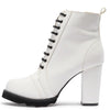 Anna081 White Pu Lace Up Block Heel Ankle Boot - Wholesale Fashion Shoes