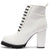 Anna081 White Pu Lace Up Block Heel Ankle Boot