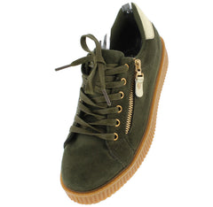 BK101 ARMY GREEN SUEDE ZIPPER GOLD METALLIC SNEAKER FLAT - Wholesale Fashion Shoes