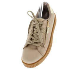 BK101 KHAKI SUEDE ZIPPER GOLD METALLIC SNEAKER FLAT - Wholesale Fashion Shoes