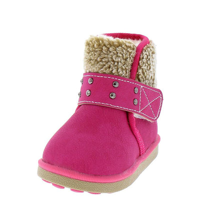 Bk21 Plum Red Faux Fur Lined Fleece Ankle Infant Boot - Wholesale Fashion Shoes