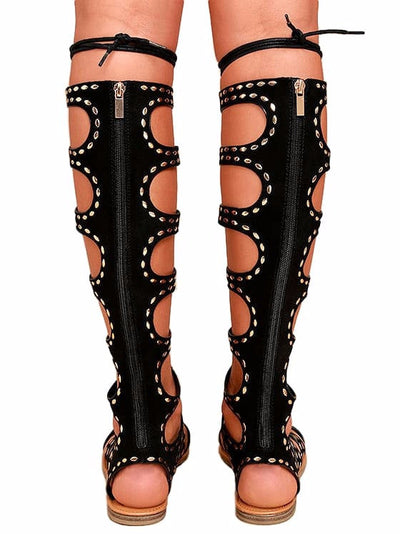 Bliss50m Black Rhinestone Lace Up Gladiator Boot - Wholesale Fashion Shoes
