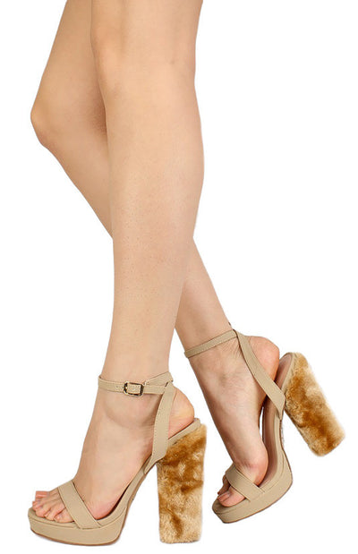 Boni Nude Open Toe Women's Furry Heel - Wholesale Fashion Shoes
