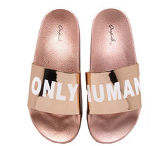 BOOBOO11E ROSE GOLD PU LOW KEY WORD SLIDE ON SANDAL - Wholesale Fashion Shoes