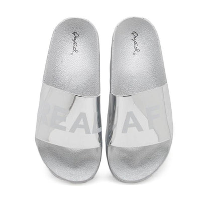 Booboo45d Silver Real Af Print Metallic Slip on Sandal - Wholesale Fashion Shoes