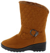 Bot50003 Camel Suede Quilted Buck Lug Sole Boot - Wholesale Fashion Shoes