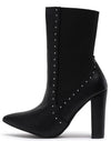 Breanna099 Black Pu Studded Stretch Panel Boot - Wholesale Fashion Shoes