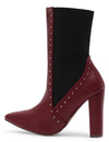 Breanna099 Burgundy Studded Stretch Panel Boot - Wholesale Fashion Shoes