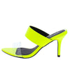 Burnet01x Neon Yellow Pat Pu Lucite Slide Heel - Wholesale Fashion Shoes