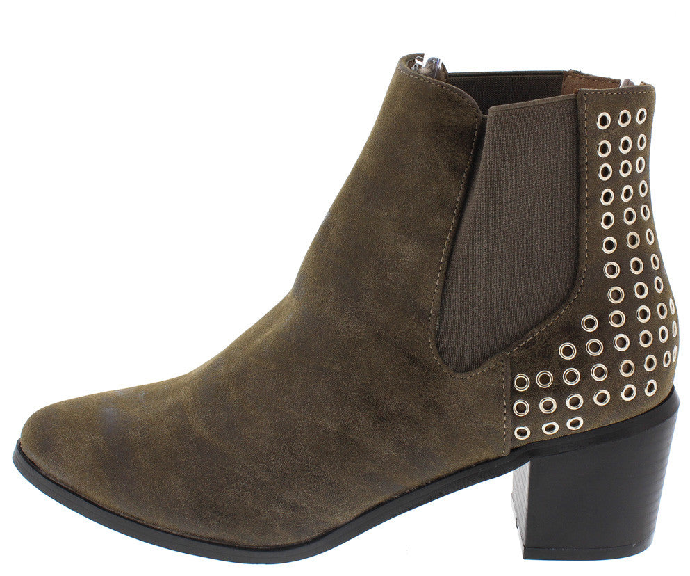 jordan01a taupe distressed slip on eyelet embellished boots from