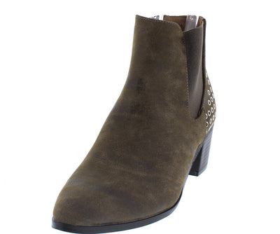 Jordan01a Taupe Distressed Slip on Eyelet Embellished Boot - Wholesale Fashion Shoes