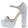 Babydoll Silver Open To Ankle Strap Platform Block Heel - Wholesale Fashion Shoes