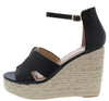 Bacer1 Black Cut Out Open Toe Espadrille Platform Wedge - Wholesale Fashion Shoes
