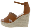 Bacer1 Cognac Cut Out Open Toe Espadrille Platform Wedge - Wholesale Fashion Shoes