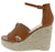 Bacer1 Cognac Cut Out Open Toe Espadrille Platform Wedge